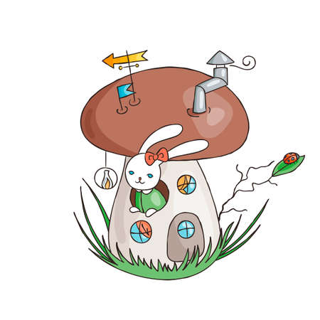 Bunny in the fungus house. Magic mushroom. Cute rabbit in forest. Vector illustration.