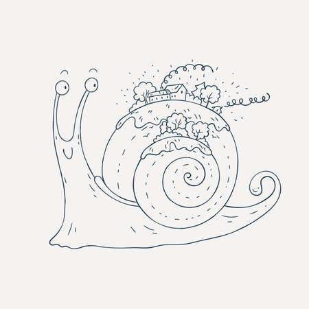 Caracoles Con La Ilustración Del Pueblo Ilustraciones Vectoriales ...