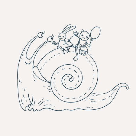 dna smile: Smiling snail with bunny and kitten on his back. Hilarious tea. Coloring page. Vector illustration. Illustration