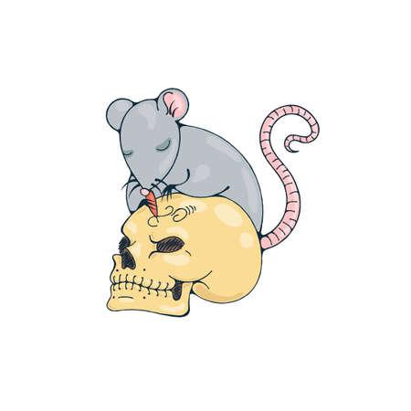 calavera caricatura: Illustration with rat engraves human skull. Vector image.