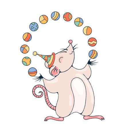 payasos caricatura: Ilustración con una rata alegre jugando con una bolas. Imagen vectorial