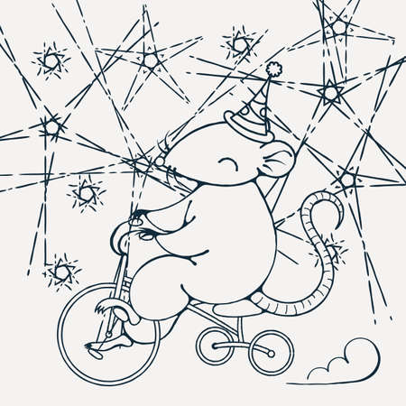 gnawer: Illustration with a circus rat on a bike. Coloring page. Vector image. Illustration