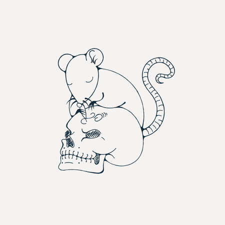 gnawer: Illustration with rat engraves human skull. Coloring page. Vector image.