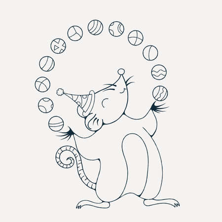 Ilustración Con Una Rata Alegre Jugando Con Una Pelota. Dibujo Para ...