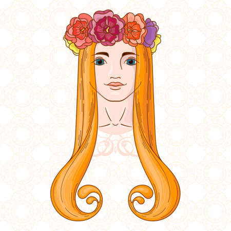 Vector art in Art Nouveau style with beauty girl in wreath.