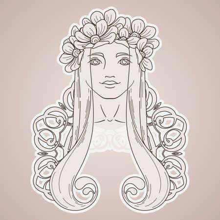Vector Kunst Im Art Nouveau Stil Mit Schönheit Mädchen Im Kranz ...