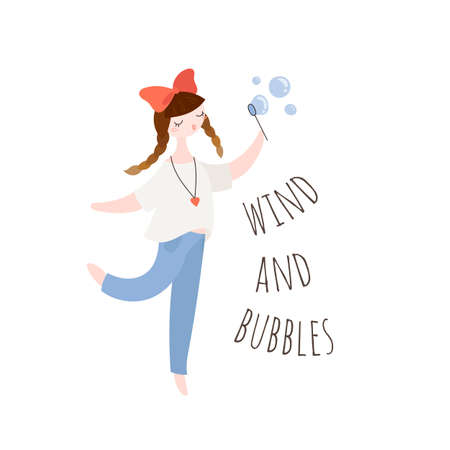 Hipster girl blowing soap bubbles. Beauty cartoon woman. Vector illustration.