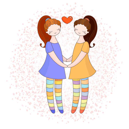 nude young: Lesbian couple holding hands. Girls in love. Vector illustration. Illustration
