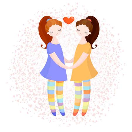 Lesbische paar hand in hand. Verliefde meisjes. Vector illustratie.
