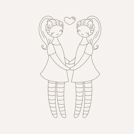 Lesbian couple holding hands. Girls in love. Vector illustration. Stock Illustratie