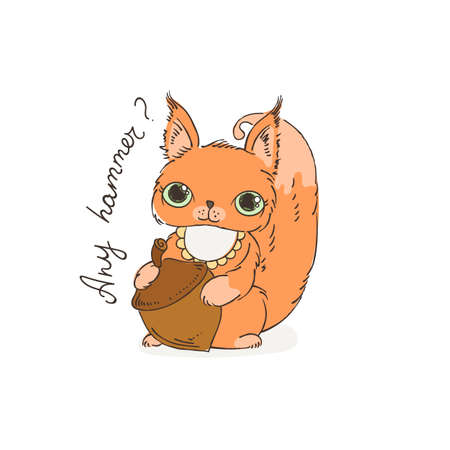 Cute carton squirrel with nut. Vector illustration for kids and children. Color page. Illustration