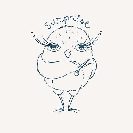 owlet: Cute cartoon owl. Lovely owlet in doodle style. Vector illustration.
