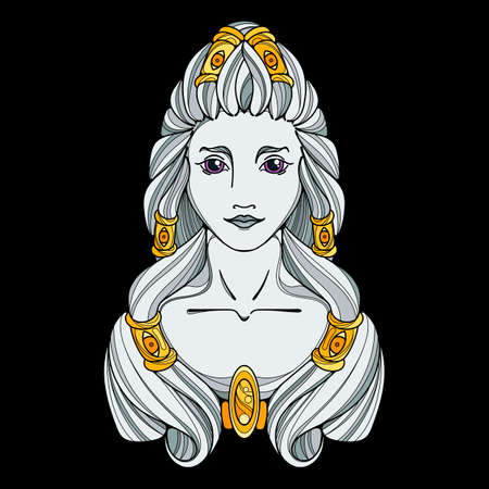 Girl black white and gold illustration. Long hair, tattoo image. Vector page. Illustration