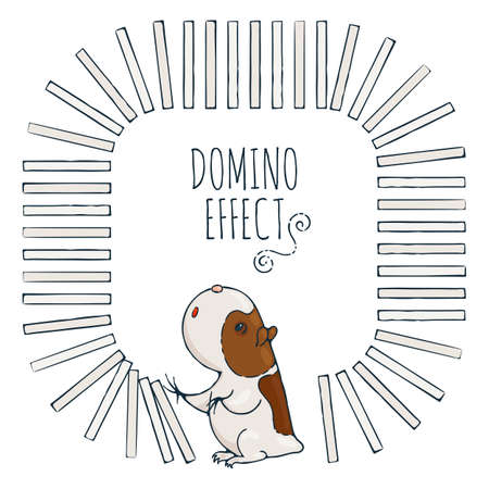 guinea pig: Guinea pig starts a chain of dominoes. Figured frame for childrens cards. Vector illustration.