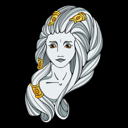 valkyrie: Girl black white and gold illustration. Long hair, tattoo image. Vector page. Illustration