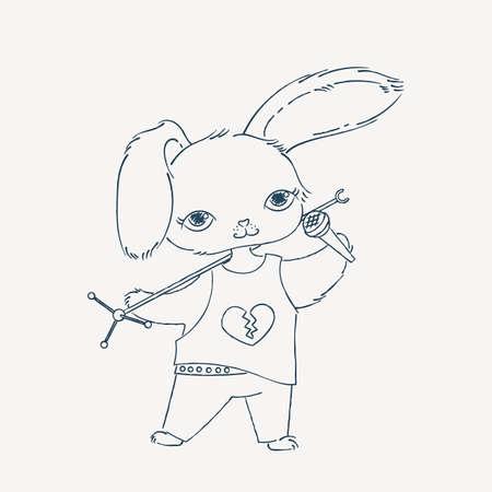 baile caricatura: cantante de conejo con un pie de micro y el micrófono. ilustración de la música rock del Doodle. vector de la historieta.