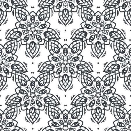 Patch Boho Flower Seamless Pattern. Mandala patchwork, oriental design. Wallpaper, furniture textile, fabric print, tile deco. Vector background Ilustrace