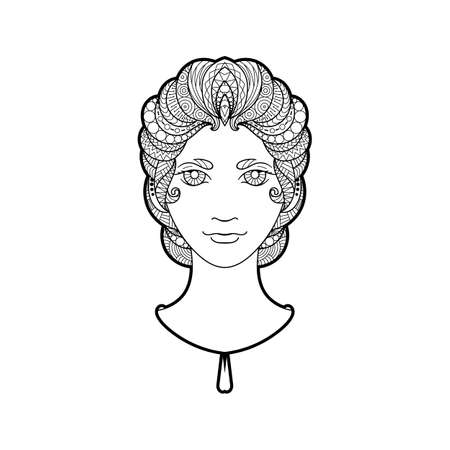 bright eyes: Beautiful girl with intricately patterned, braid and bright eyes. Coloring page.