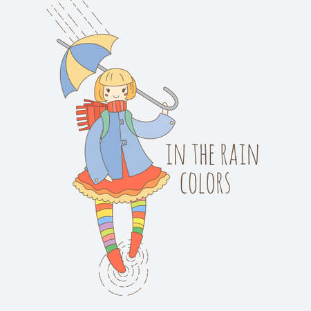 Young girl in striped stockings walking in the rain with umbrella. Illustration in a tilda style.