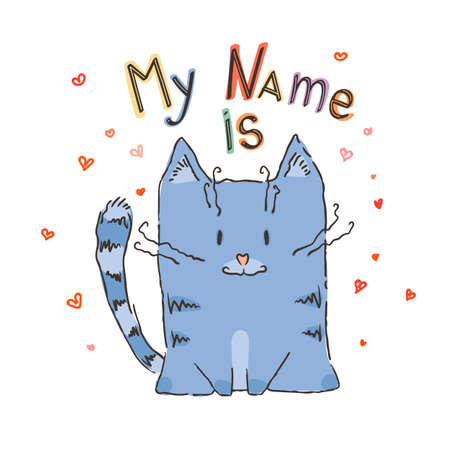 Cute cartoon cat with lettering. Vector illustration.