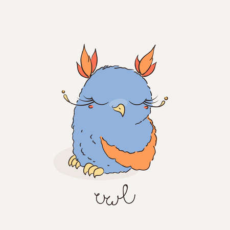 feathery: Cute cartoon owl. Lovely owlet in doodle style. Vector illustration.