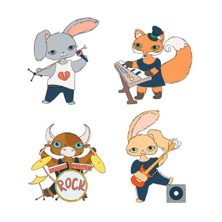 Set of four children's musical characters: calf, rabbits and fox. Guitarist, keyboardist, singer and drummer. Vector coloring collection. Illustration