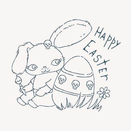 emo: Cute Emo Easter bunny for holiday card, children subculture or easter card. Hand drawn doodle illustration.