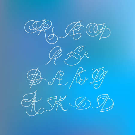 inscribed: Set of orante lined letters inscribed in Art Nouveau style. Logo. Monogram. Calligraphic signature.