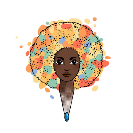 Portrait of a woman with luxuriant hair in the style of an African. Vector. The patterns in the hair. Stock Illustratie