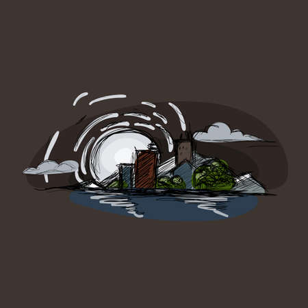 moonrise: Cityscape illustration, moonrise, ocean beach. Doodle vector landscape. Illustration