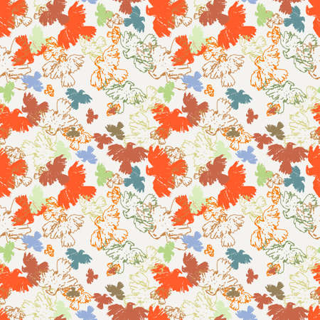 fearsome: Seamless grunge hipster pattern with birds. Vector endless background.