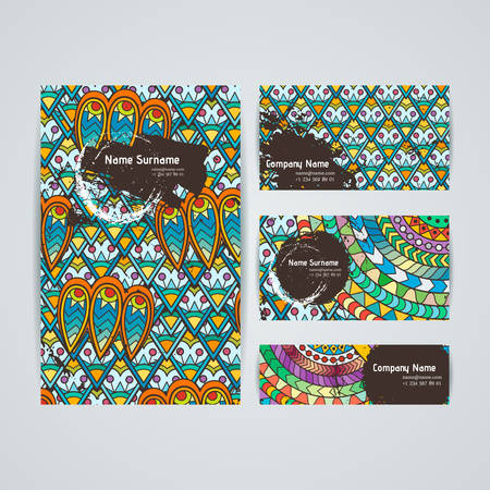 plait: Set of vector design templates. Brochures in random colorful style. Frames and backgrounds.