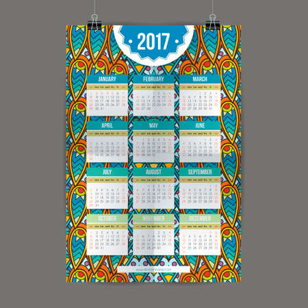 colorful calendar 2017 hand painted in the style of floral patterns and doodle. Ornate, elegant and intricate style.