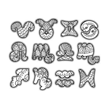 scorpion fish: Zodiac icons. Funny bubble style for children or party. Vector collection. Illustration
