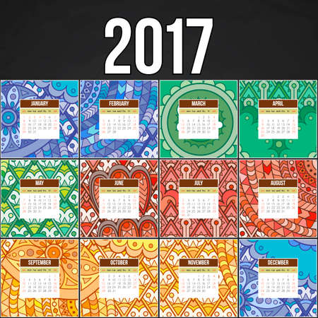 decade: colorful calendar 2017 hand painted in the style of floral patterns and doodle. Ornate, elegant and intricate style.