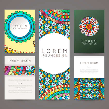 plait: Set of vector design templates. Brochures in random colorful style. Frames and backgrounds.  designs.