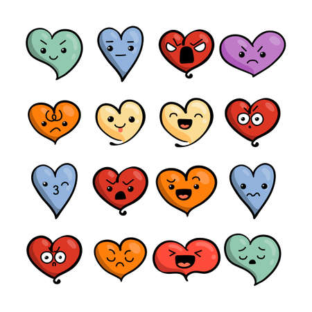 Set of cute lovely emoticons. Doodle kawaii face, sweet and childlike manga cartoon style. Vector valentines collection Illustration