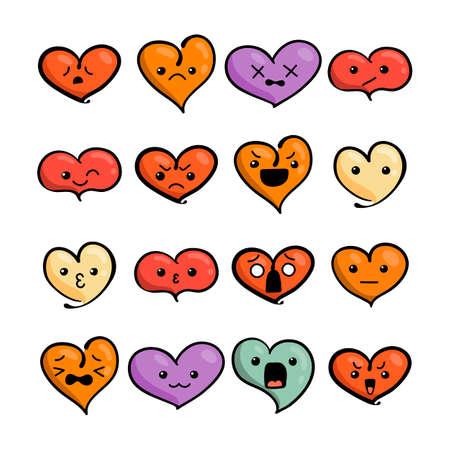 かわいい素敵な顔文字のセットです。カワイイ顔、甘い、子供のような漫画の漫画のスタイルを落書き。ベクトル バレンタイン コレクション