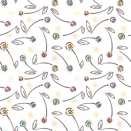 petal: Abstract seamless floral pattern. Furry blossom. Dots flowers.