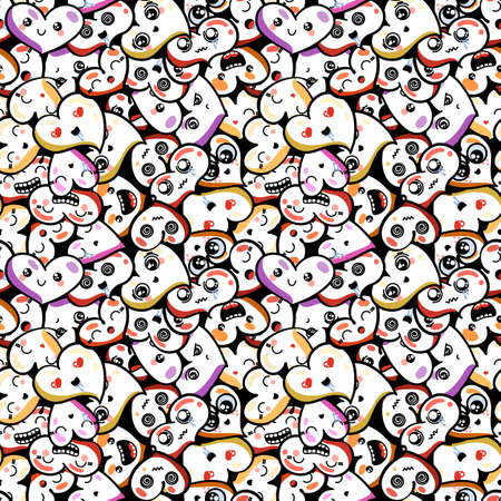memes: Heart with emoji to the Saint Valentines day. Vector pattern Illustration