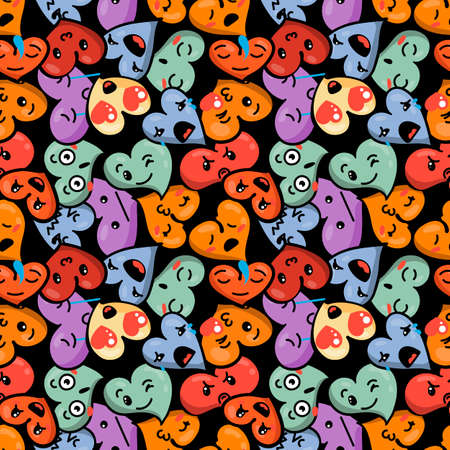 memes: Seamless heart background with emoji to the Saint Valentines day. Vector pattern