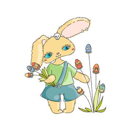 chocolate egg: Cartoon Easter bunny with egg flavor. Holiday illustration
