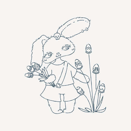 osterhase: Cartoon Easter bunny with egg flavor. Holiday illustration