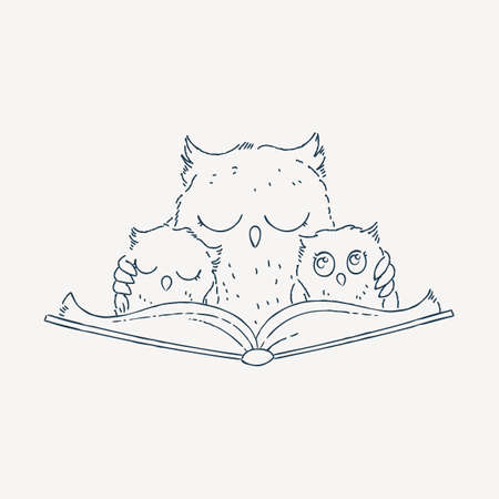 Illustration with an Owl and owlets reading the book. Knowledge Day