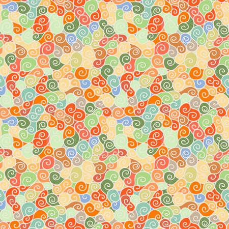 Seamless swirl pattern. Handdrawn doodle ringlets.