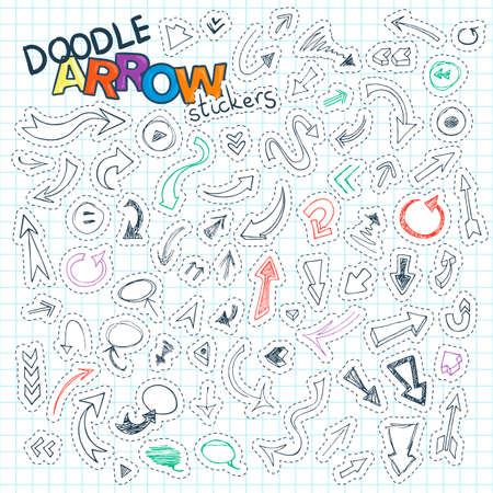 Set of doodle arrow tags and stamps with routed, signs, balloons, guides. Icons for connections and stickers Illustration