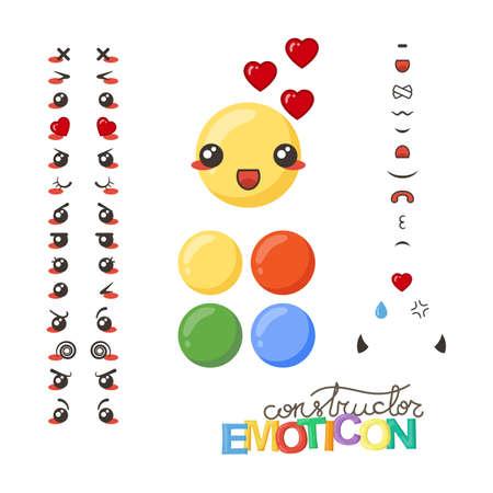 Constructor van schattige mooie Kawaii emoticon. Doodle cartoon gezicht in kinderlijke manga cartoon stijl.