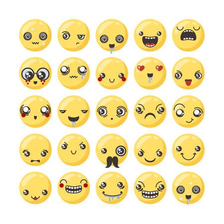 Set of cute lovely kawaii emoticon. Doodle cartoon face in childlike manga cartoon style. Flat vector icons.
