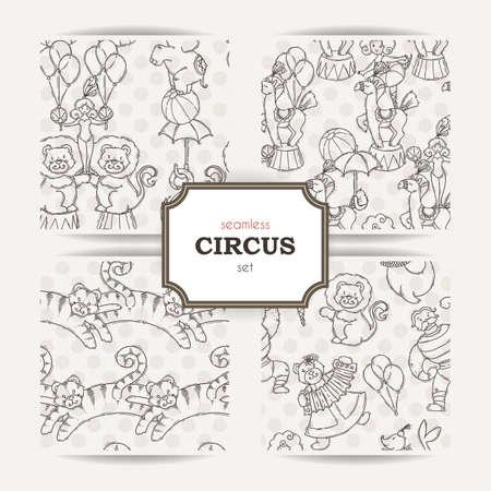 Esbozado Los Elementos De Circo Lindo De Dibujos Animados De Libro ...