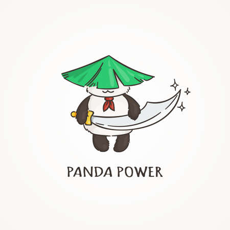 kungfu: Power panda with a saber sword. Wildlife, ecology, peace and friendship. Vector illustration. Illustration